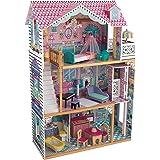 KidKraft 65934 Casa delle bambole in legno Annabelle per bambole di 30 cm con 17 accessori inclusi e 3 livelli di gioco