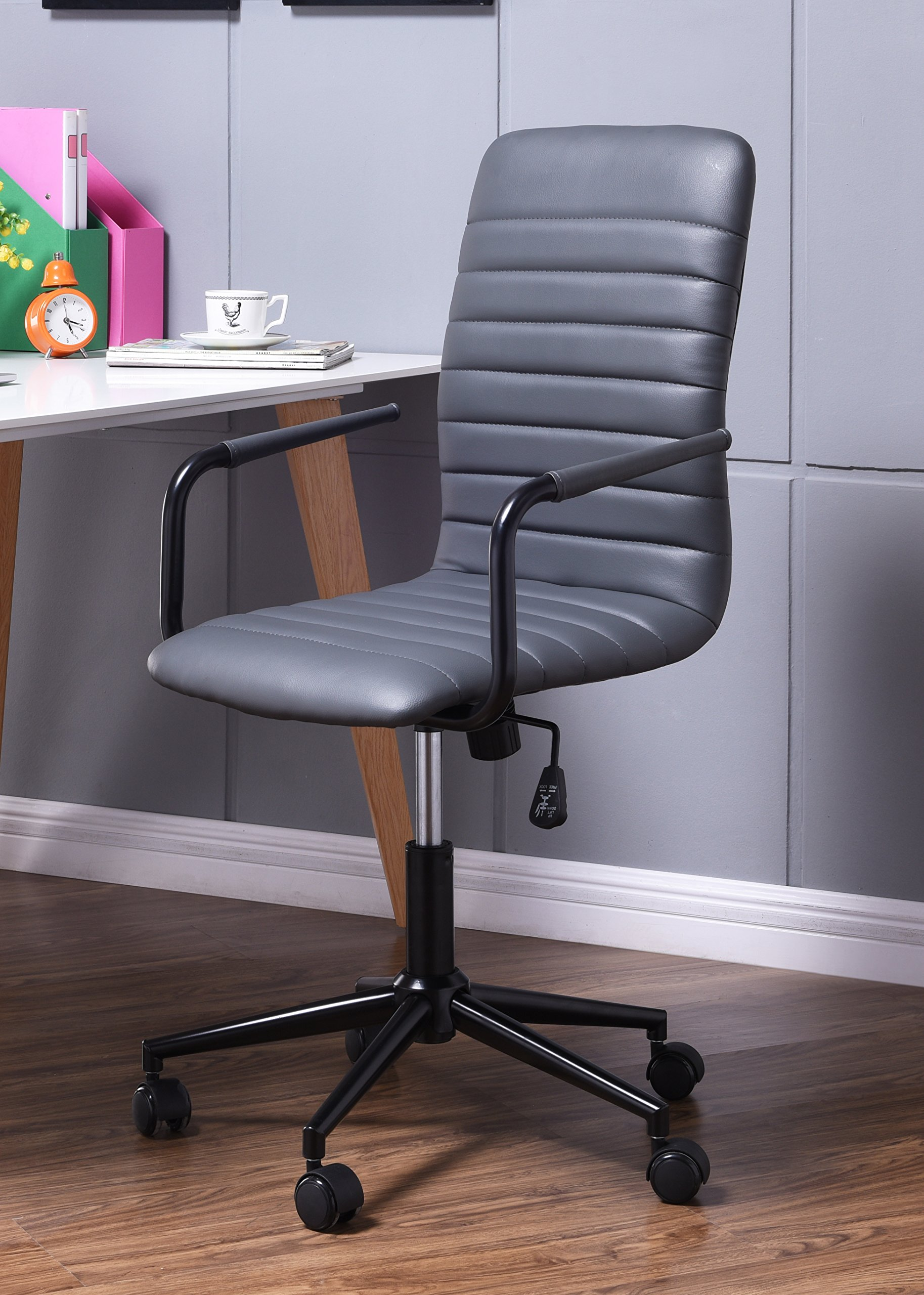 BestOfficeChoice 18637-GY Striped Leather Office Desk Chair, Mid Back, Gray