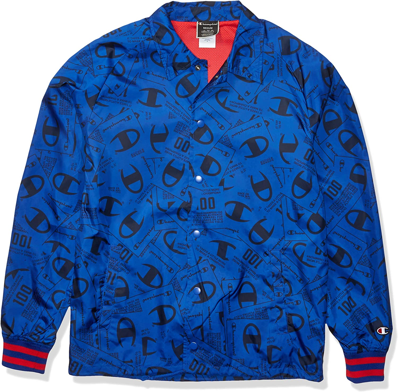 Champion LIFE Men's Satin Coaches Jacket Ribbed Cuff-JOCKTAG AOP, Jockey Tang Scatter Surf The Web: Clothing