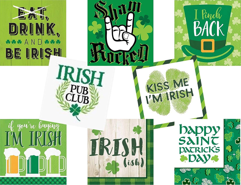 Funny St Patricks Day Cocktail/Beverage Paper Napkins - 4 Pack Bundle, Designs Will Vary - 64 Napkins Total