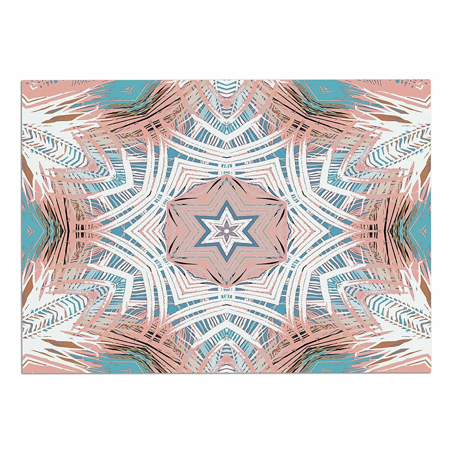 KESS InHouse AC1108ADM02 Alison Coxon Tribe Coral and Teal bluee White Dog Place Mat, 24 x15