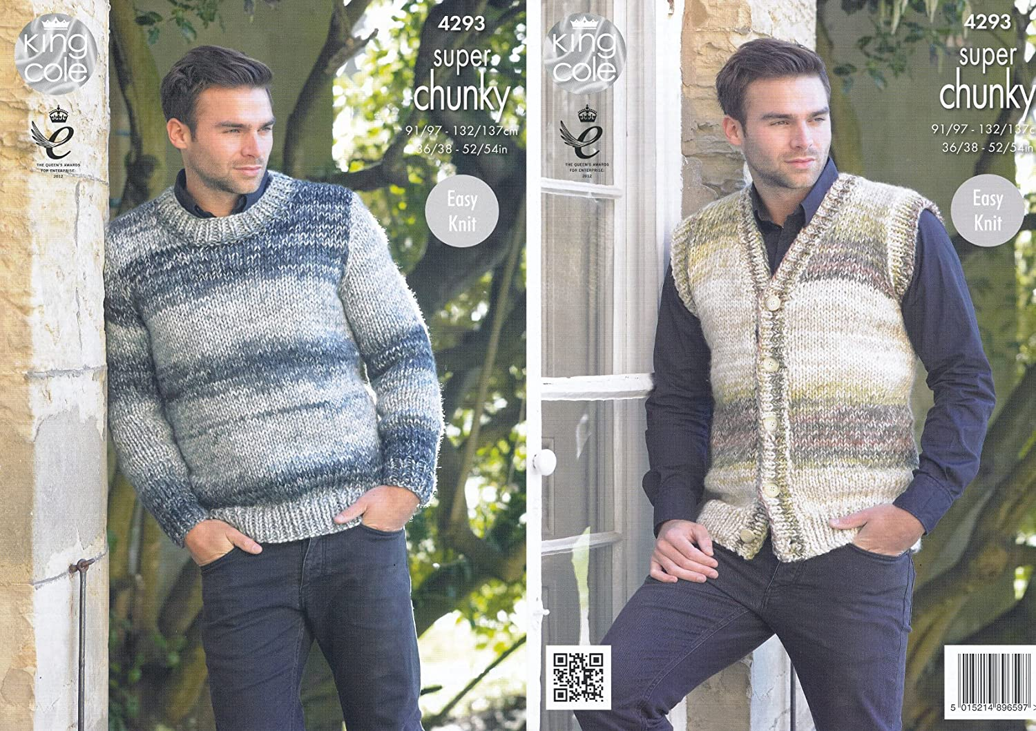 37f7005e6 Amazon.com  King Cole Mens Easy Knit Super Chunky Tints Knitting Pattern  Waistcoat   Round Neck Sweater (4293)  Arts
