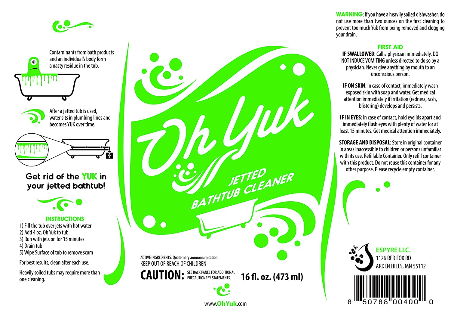 Oh Yuk Jetted Tub System Cleaner 16 ounces: Amazon.co.uk: Kitchen & Home