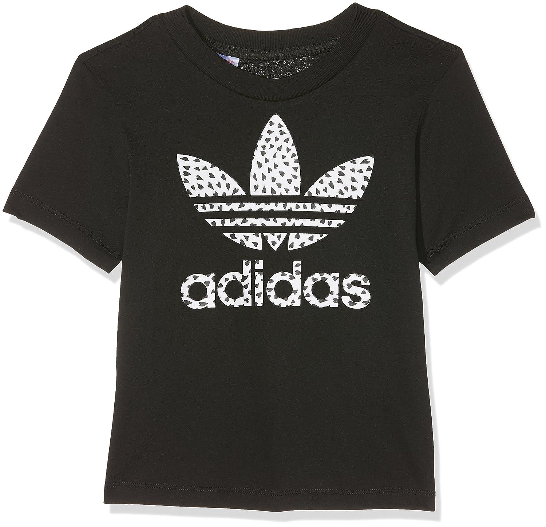 adidas Originals Junior Girls Trefoil T-Shirt in Black-Short Sleeve-Ribbed