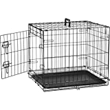 AmazonBasics Single-Door Folding Metal Dog Cage with Paw Protector (24x19x18 inches)