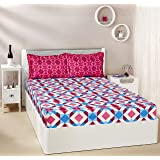 Amazon Brand - Solimo Kaleidoscope Dreams 144 TC 100% Cotton 1 Double Bedsheet with 2 Pillow Covers, Magenta and Blue