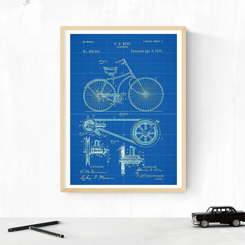 Nacnic Azul - Pack de 4 láminas con Patentes de Bicicletas 2. Set de Posters con inventos y Patentes Antiguas. Elije el Color Que más te guste. Impreso en Papel de 250