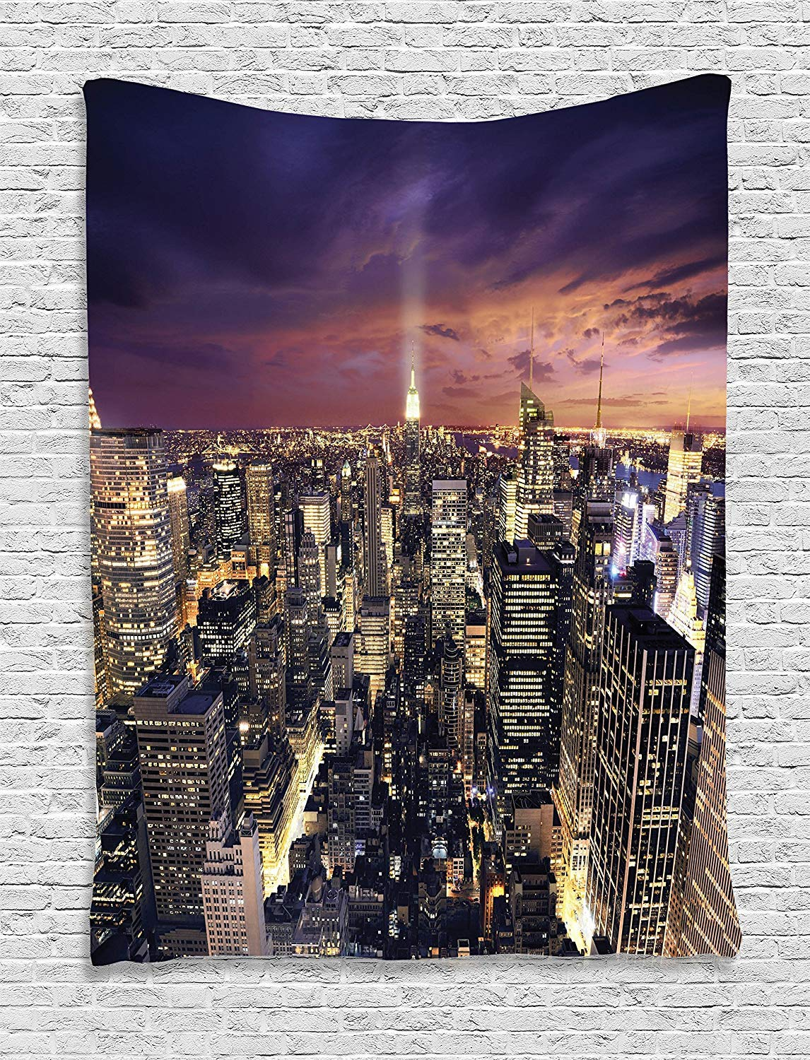 Manhattan Offices High Tall Tower Traffic Busy Urban Life Windows District View Ambesonne NYC Tapestry 60 X 80 Purple Yellow Wall Hanging for Bedroom Living Room Dorm