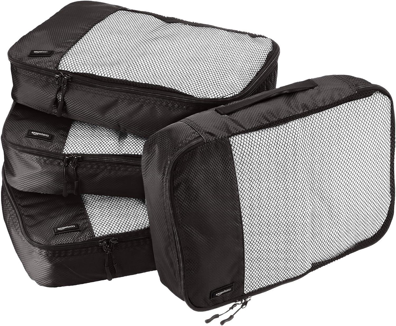 AmazonBasics - Bolsas de equipaje medianas (4 unidades), Negro