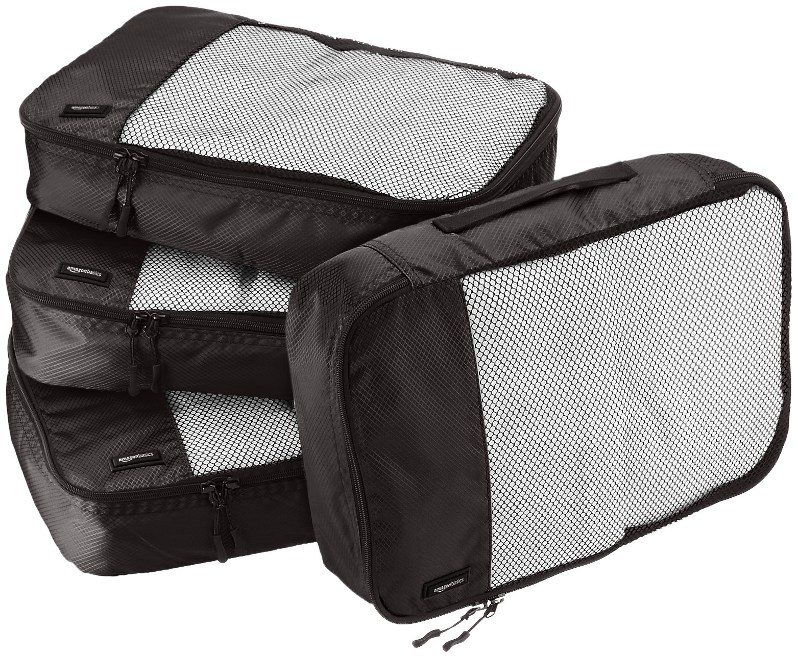 AmazonBasics 4 Piece Packing Travel Organizer Cubes Set - Medium, Black by AmazonBasics