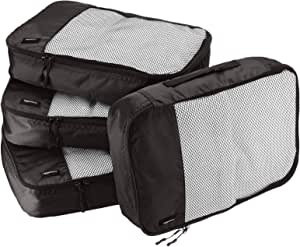 AmazonBasics 4-Piece Packing Cube Set - Medium, Black