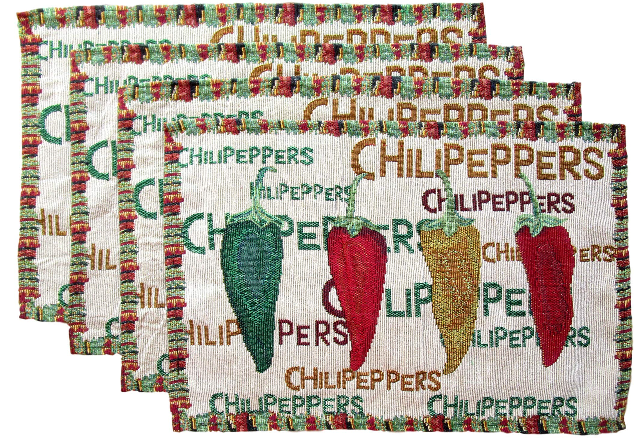 Everyday Woven Tapestry Place Mats - Set of 4 (Red, Green, and Yellow Chili Peppers with Border) by Everyday (Image #1)