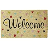 DII Home Natural Coir Doormat, Indoor/Outdoor, 18x30, Welcome Hearts
