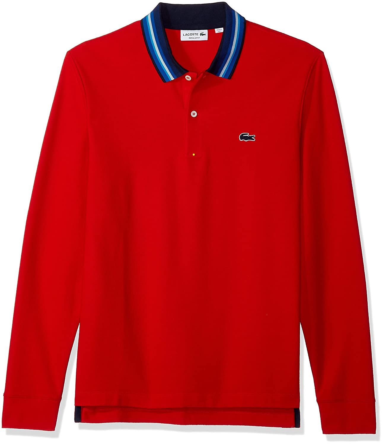 82cd1204c Lacoste Men s Holiday Long Sleeve Slubbed Pique Polo-Regular Fit at Amazon  Men s Clothing store