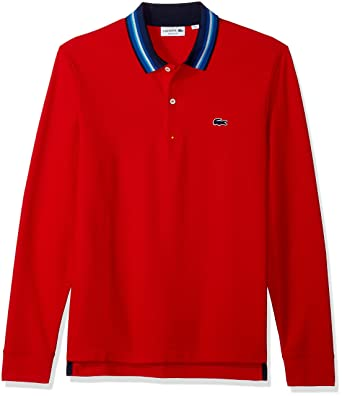 a97949a0d048d Lacoste Men s Holiday Long Sleeve Slubbed Pique Polo-Regular Fit at ...