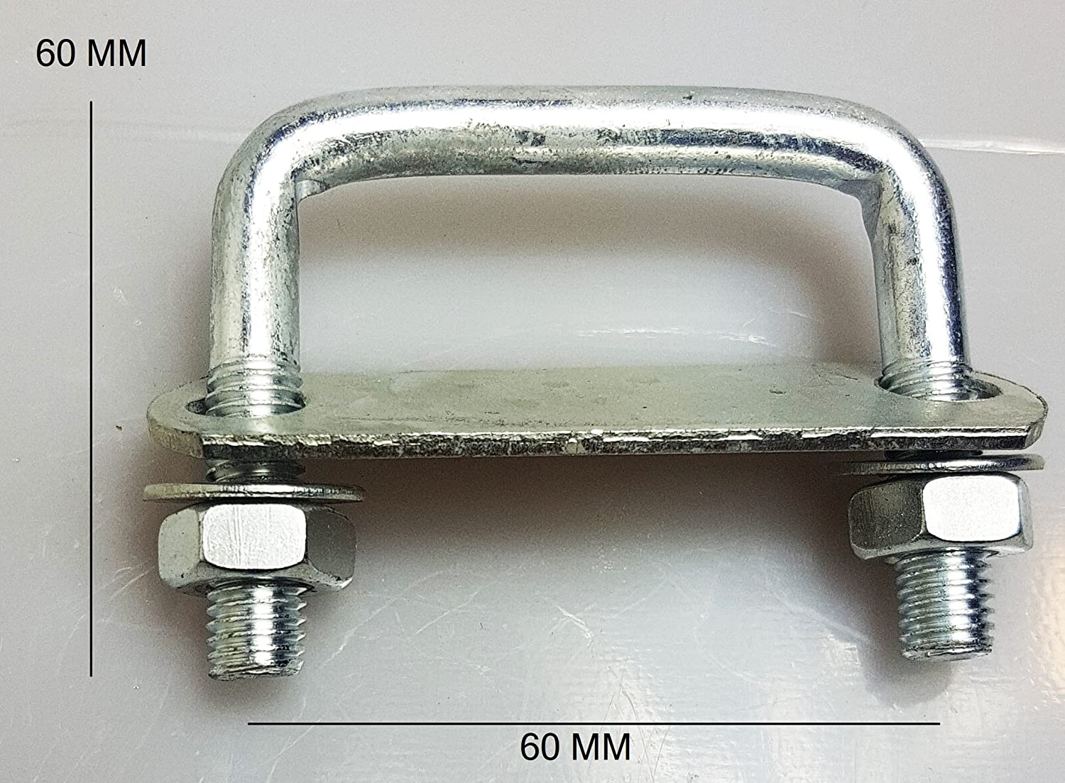 1 x Steel Square U-bolt Brackets Roof Boat Trailer 60x60x10mm M10 Nuts Plate UB4 UBS-60A CSS