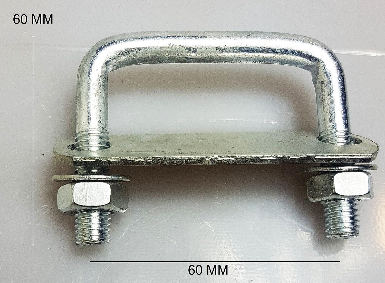 1 x Steel Square U-bolt Brackets Roof Boat Trailer 60x60x10mm M10 Nuts Plate UB4 UBS-60A CSS