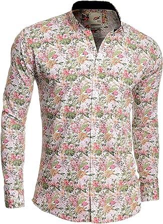 D&R Fashion Hombres Camisa de Vestir Casual Patrón Floral ...