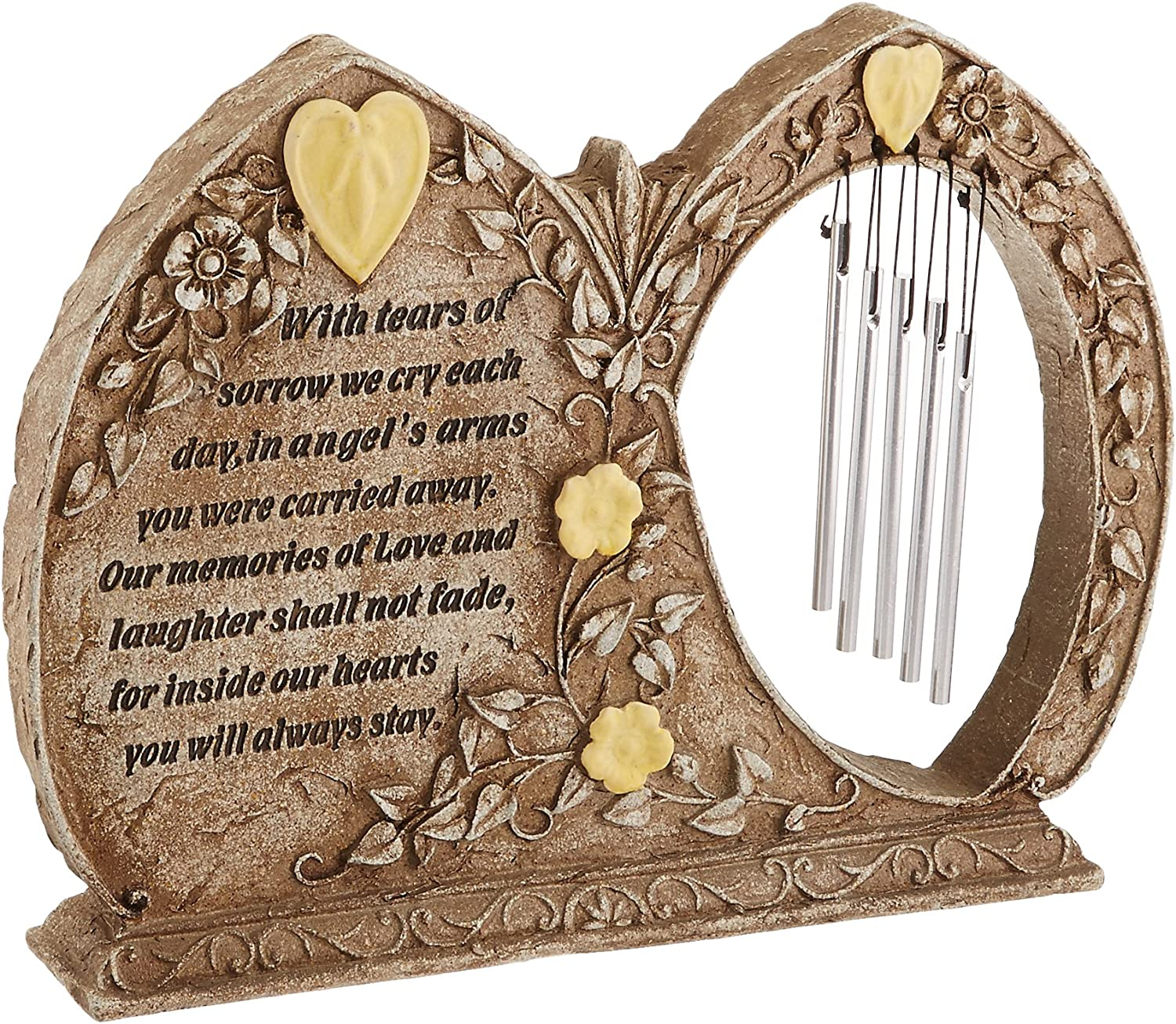 Carson Home Accents Peaceful Reflections Garden Chime, 9.5-Inch High, Memorial/Glow in The Garden