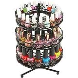 3 Tier Salon Style Metal Spinning Carousel Nail Polish Display Rack / Cosmetic Organizer Stand