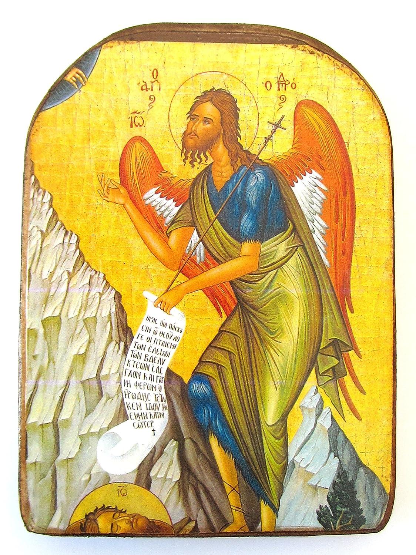 Handmade Wooden Greek Christian Orthodox Wood Icon of Saint John the Baptist...
