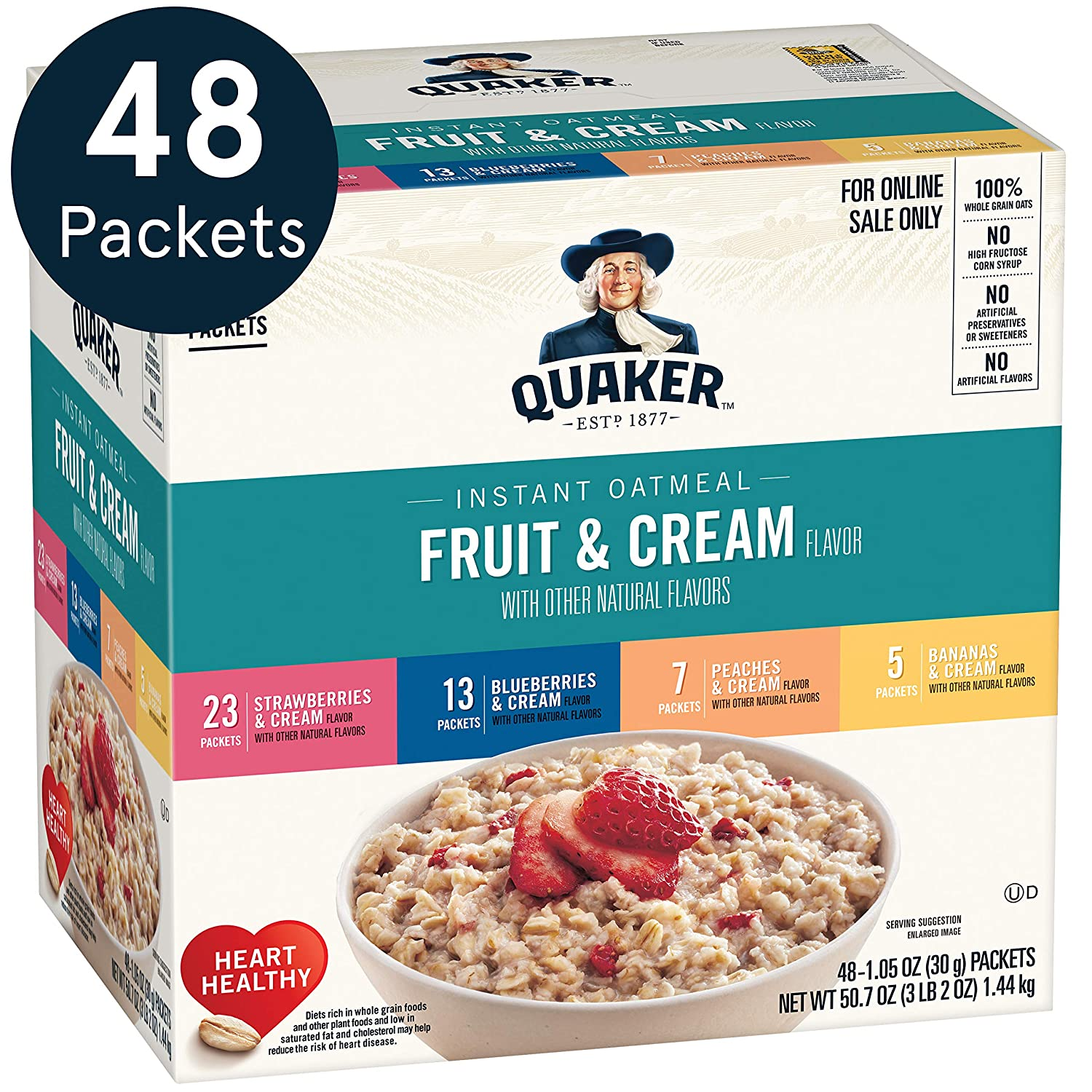 Quaker Instant Oatmeal, 4 Flavor Variety Pack, Individual Packets, 48 Count