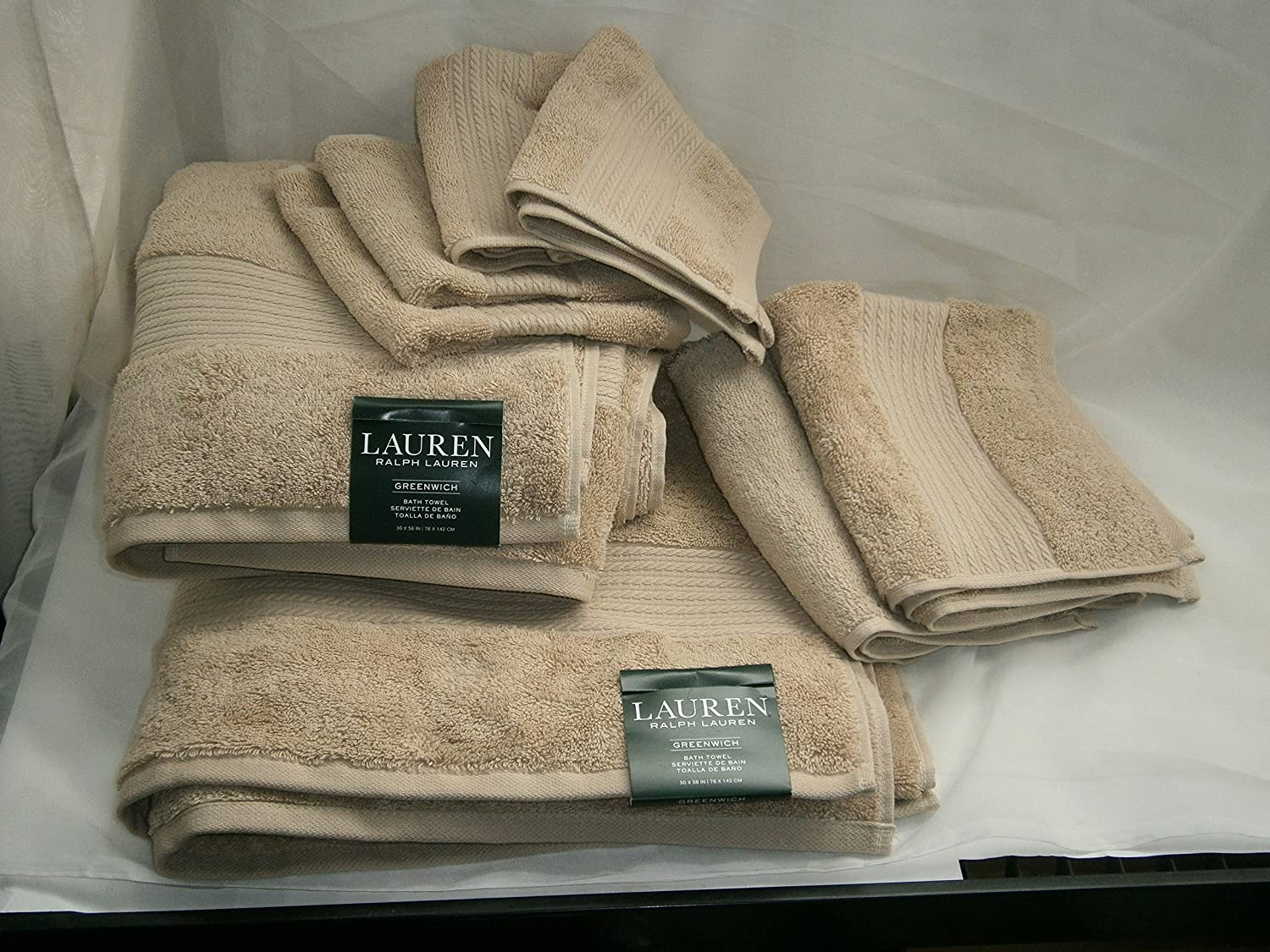 Amazon.com: Greenwich Towel Set 8 pc DUNE / Dark Sand Beige: Home & Kitchen