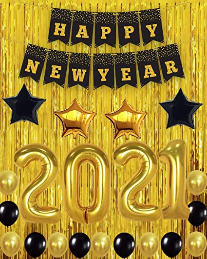 Happy New Year Party Banner New Years Eve photo prop Happy New Year Banner Gold and Black Banner New Years party supplies
