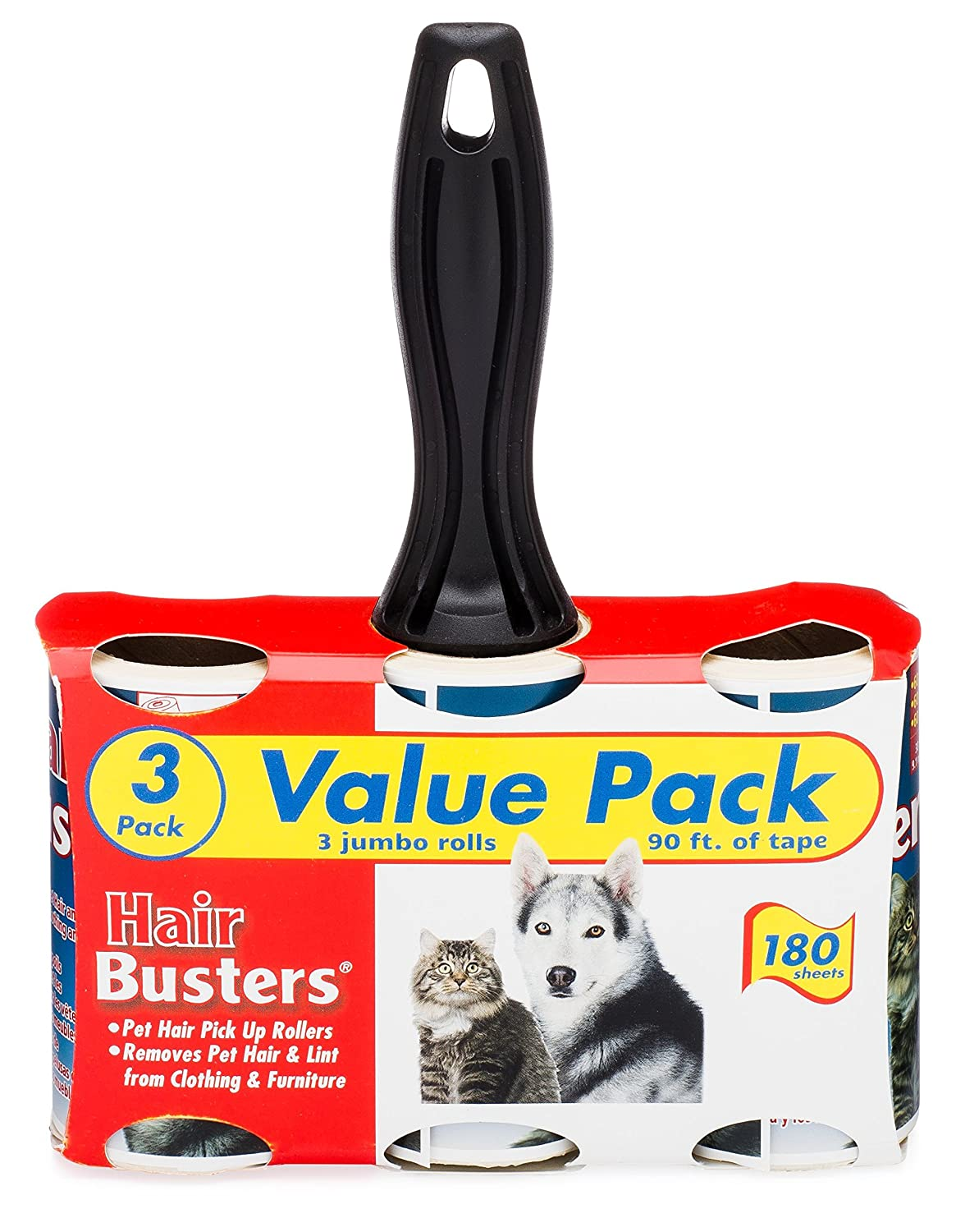 Extra Sticky Pet Hair Rollers Hair Busters by Erasmus Pets Lint Roller Value Pack 3 Rolls 60 Sheets Per Roll