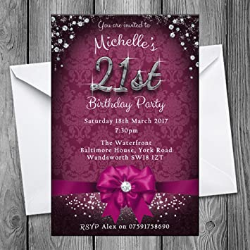 21st Birthday Party Invitations - Bow & Sparkle (Pack of 24) 6 colours (