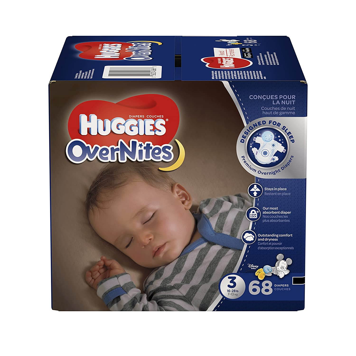 HUGGIES OVERNITES, Night Time, Baby Diapers, Size 3, 68ct Kimberly-Clark Corp. CA 40686