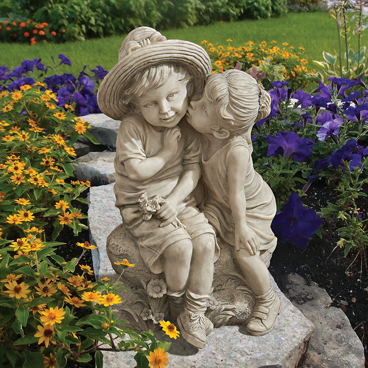 Amazon Design Toscano Kissing Kids Boy and Girl Statue