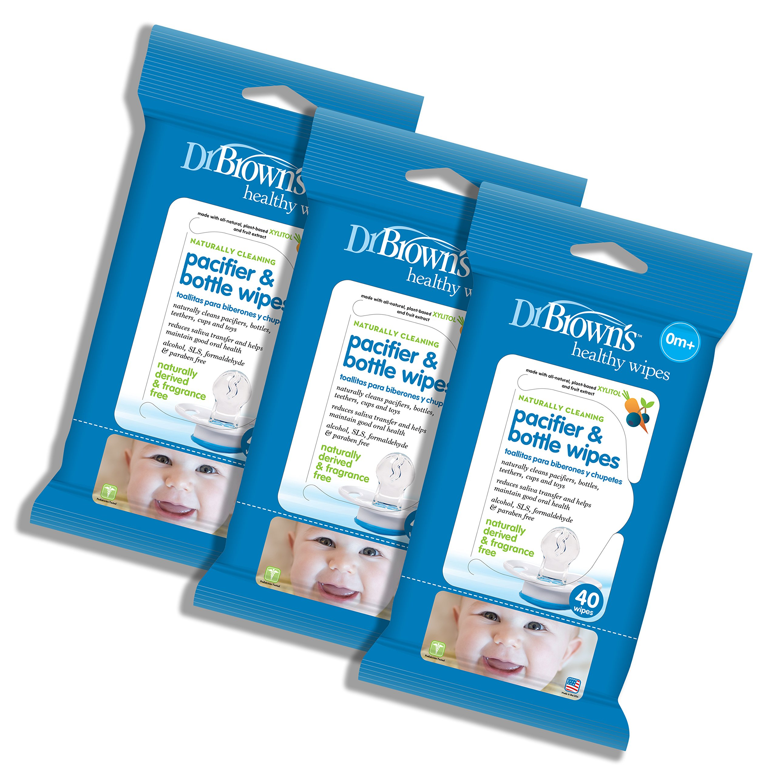 Dr. Brown's Pacifier and Bottle Wipes, 40 Count, 3-Piece by Dr. Brown's