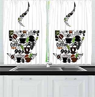 Amazon.com: Coffee Beans Java Cups Kitchen Window Curtain: Home ...