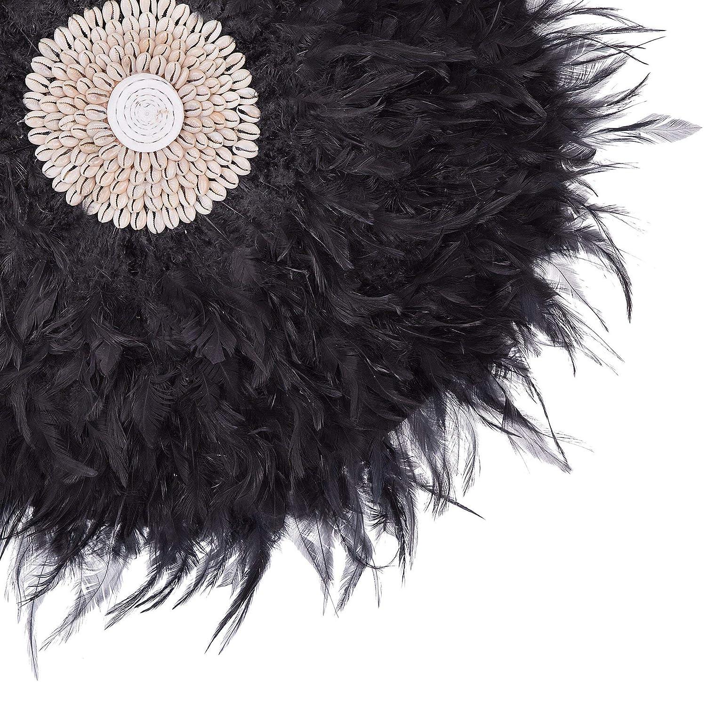 Beliani Modern Feather Round Wall Decor Seashell Centre Accent Juju Hat Black O60 Cm Juju