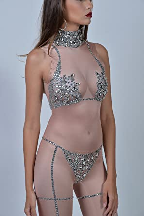 72570c5ceedb Amazon.com: Charismatico Silver Nude Crystallised 3D Print Sexy Cleavage  Naked Showgirl G-String Romper Catsuit Jumpsuit US0-US6: Clothing