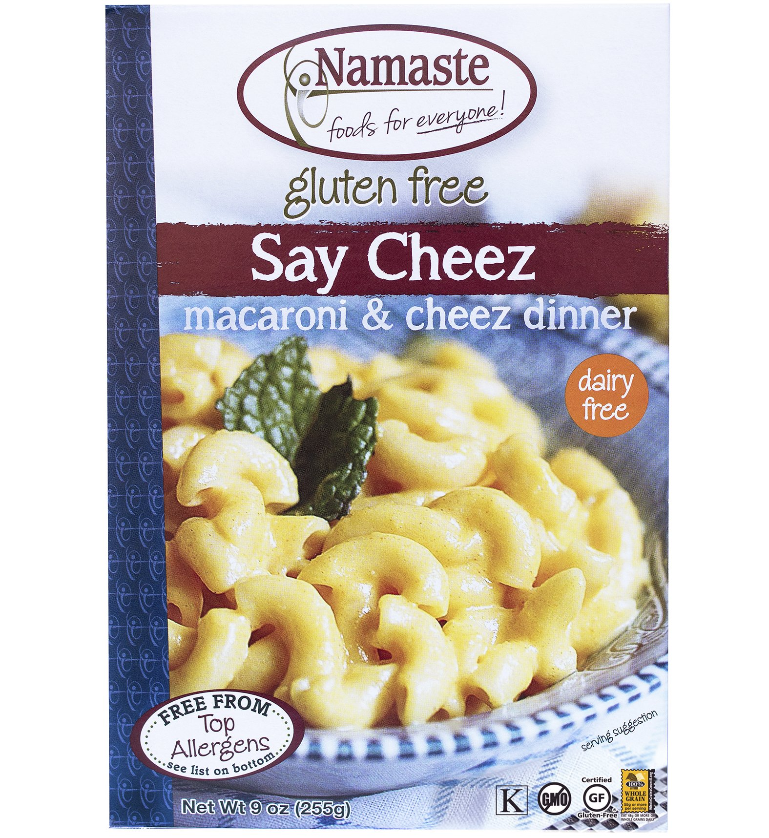 Namaste Foods, Gluten Free Say Cheez Non-Dairy Macaroni & Cheez Dinner 9-Ounce Boxes (Pack of 6) by Namaste Foods