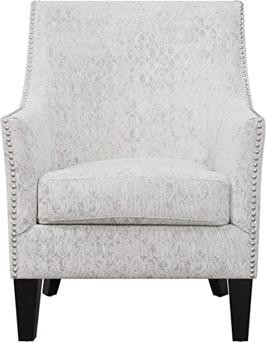 Artum Hill Accent Chair Upholstery and Nailhead Trim Home-Office-Furniture, Textured Beige