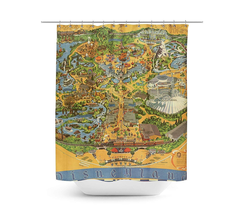 Amazon Queen Of Cases Disneyland Vintage Map Shower Curtain