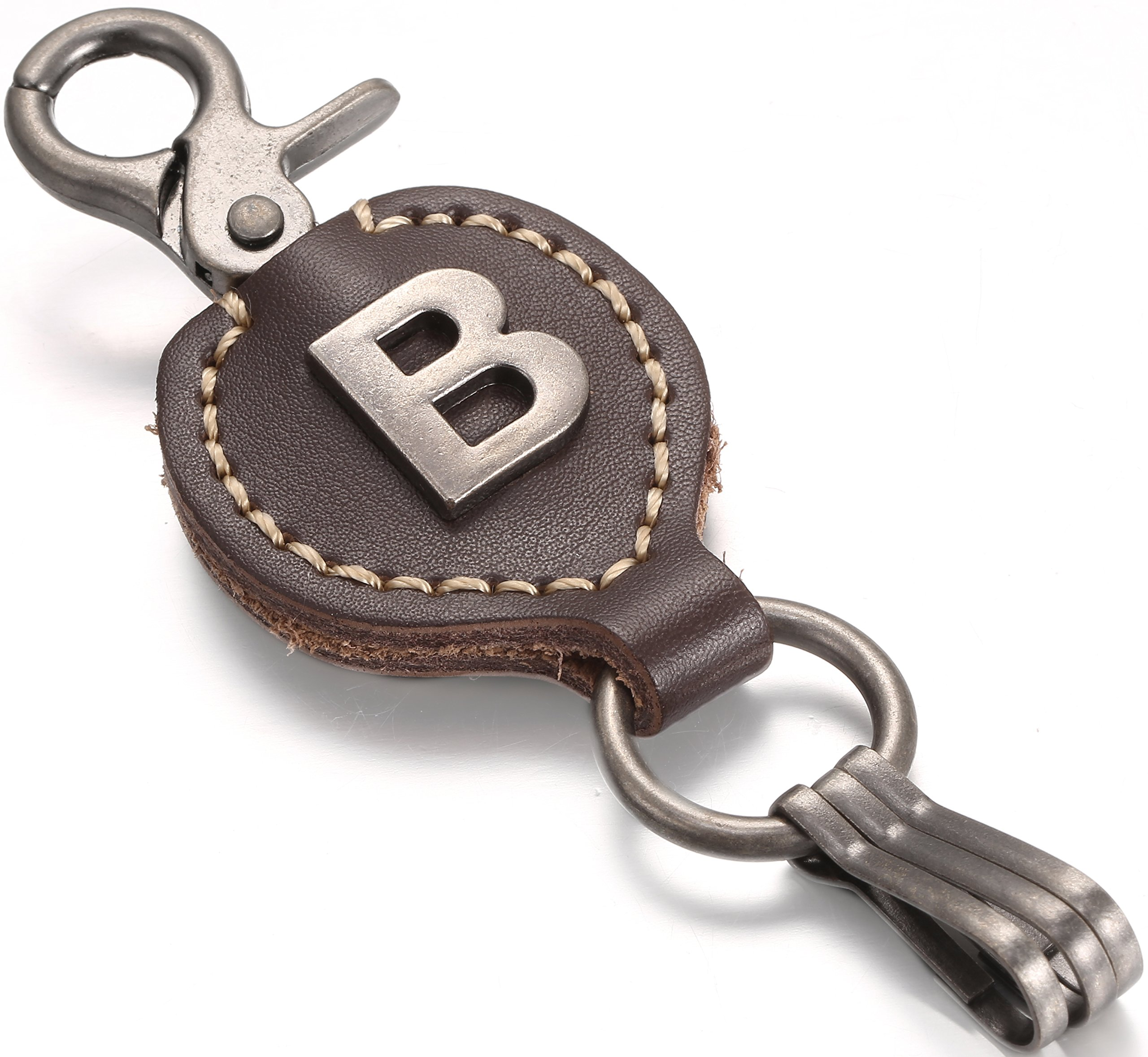 Brown Leather Alphabet Keychain, Single Letter with Easy Clasp Key - by Marino Ave - B - onesize
