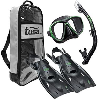 TUSA Sport Adult Powerview Mask, Dry Snorkel, and Fins Travel Set