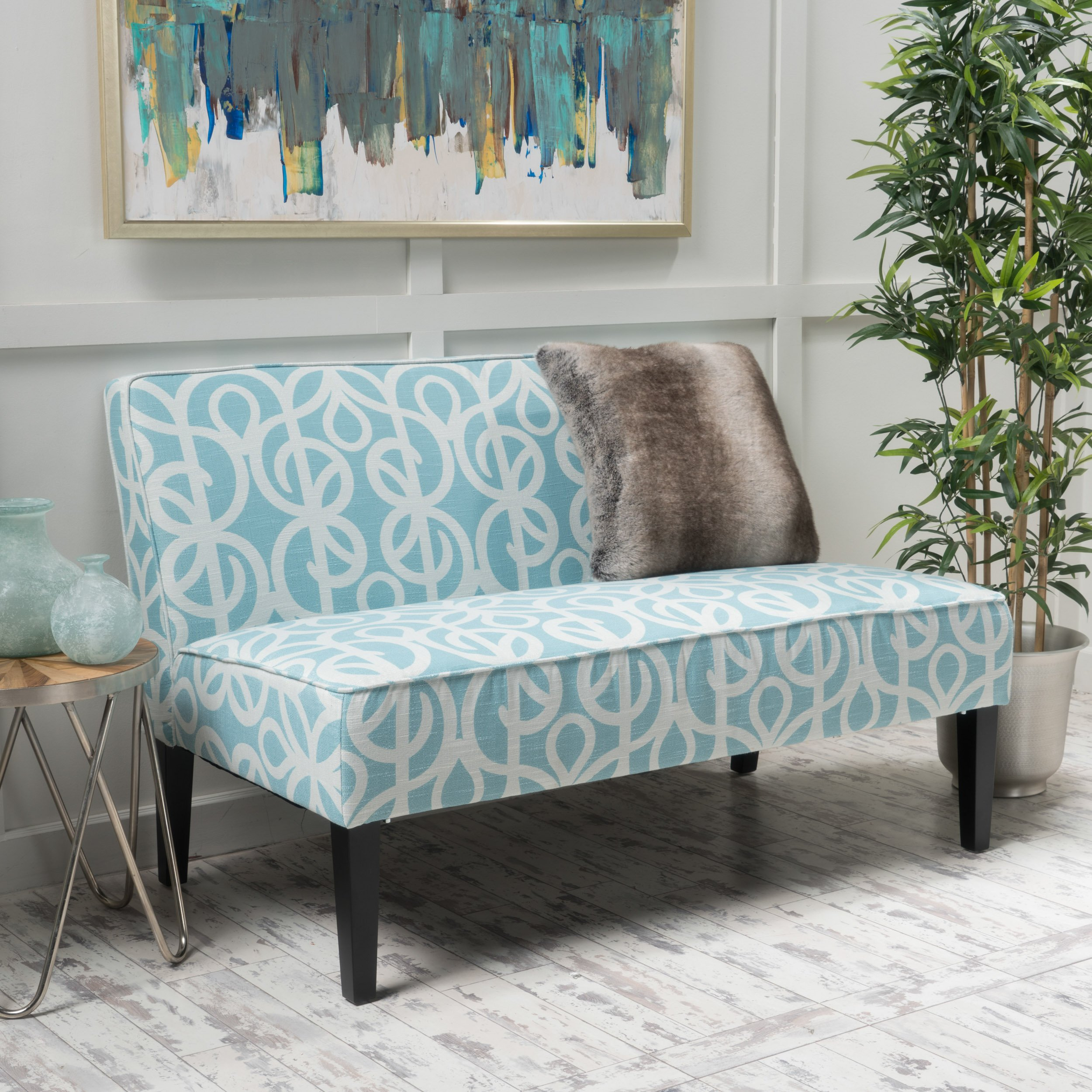 Charlotte Azure Fabric Love Seat by GDF Studio (Image #1)