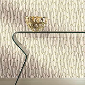 Roommates Gold And White Stripped Hexagon Peel And Stick Wallpaper 20 5 X 16 5 Feet Rmk10704wp White Gold Amazon Com
