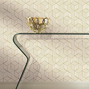RoomMates Gold and White Stripped Hexagon Peel and Stick Wallpaper