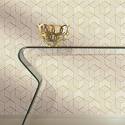 Roommates Gold And White Stripped Hexagon Peel And Stick Wallpaper 20 5 X 16 5 Feet Rmk10704wp