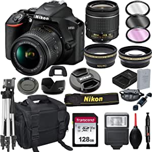 Nikon D3500 DSLR Camera with 18-55mm VR Lens + 128GB Card, Tripod, Flash, and More (20pc Bundle)