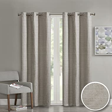 Comfort Spaces Grasscloth Grommet Window Curtain Panel for Living Room- 2 Panels - Taupe - 40x84 Inches- Foamback - Energy Efficient Saving