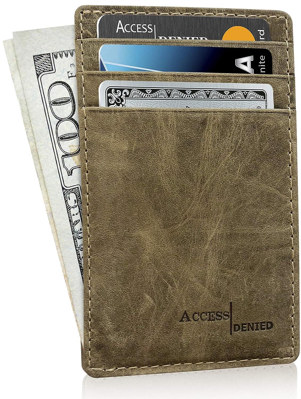 Slim Minimalist Wallets for Men & Women RFID Blocking 1350-Black-Crazyhorse