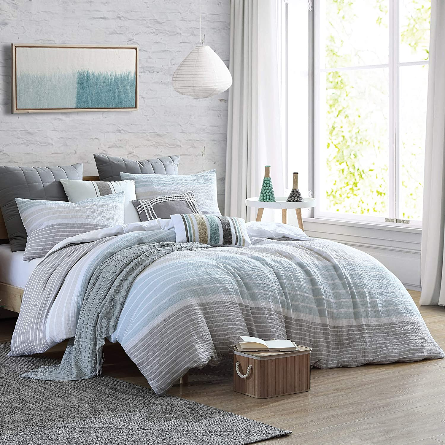 Swift Home Cordelia Prewashed Yarn-Dyed 100% Cotton Gauze Stripe Duvet Cover Set, Oeko-Tex Certified, Ultra Soft and Breathable, Button Closure, All Season - Oatmeal, Twin/Twin XL (68
