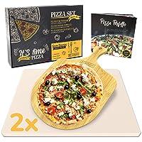 Garcon Pizzastein für Backofen und Gasgrill zum Pizza Backen - 3er Set inkl Pizza Stone Pizzaschieber Kochbuch in Geschenk Box